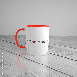 TAZA BLANCA ENAMORADOS... I LOVE YOU...