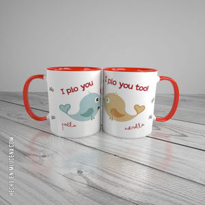 TAZA BLANCA DUO ENAMORADOS... I PIO YOU...