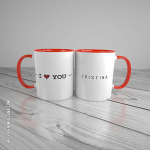 TAZA BLANCA DUO ENAMORADOS... I LOVE YOU...